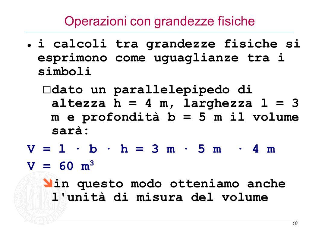 19 Operazioni con grandezze fisiche i calcoli tra grandezze fisiche si esprimono come uguaglianze tra i simboli dato un parallelepipedo di altezza h =