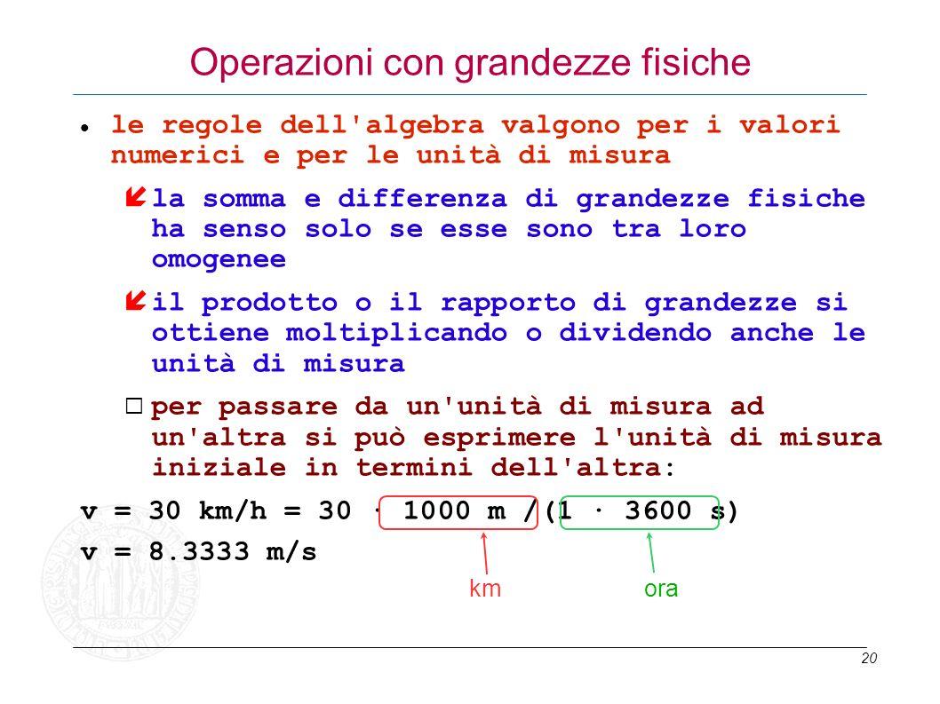 20 Operazioni con grandezze fisiche le regole dell'algebra valgono per i valori numerici e per le unità di misura la somma e differenza di grandezze f
