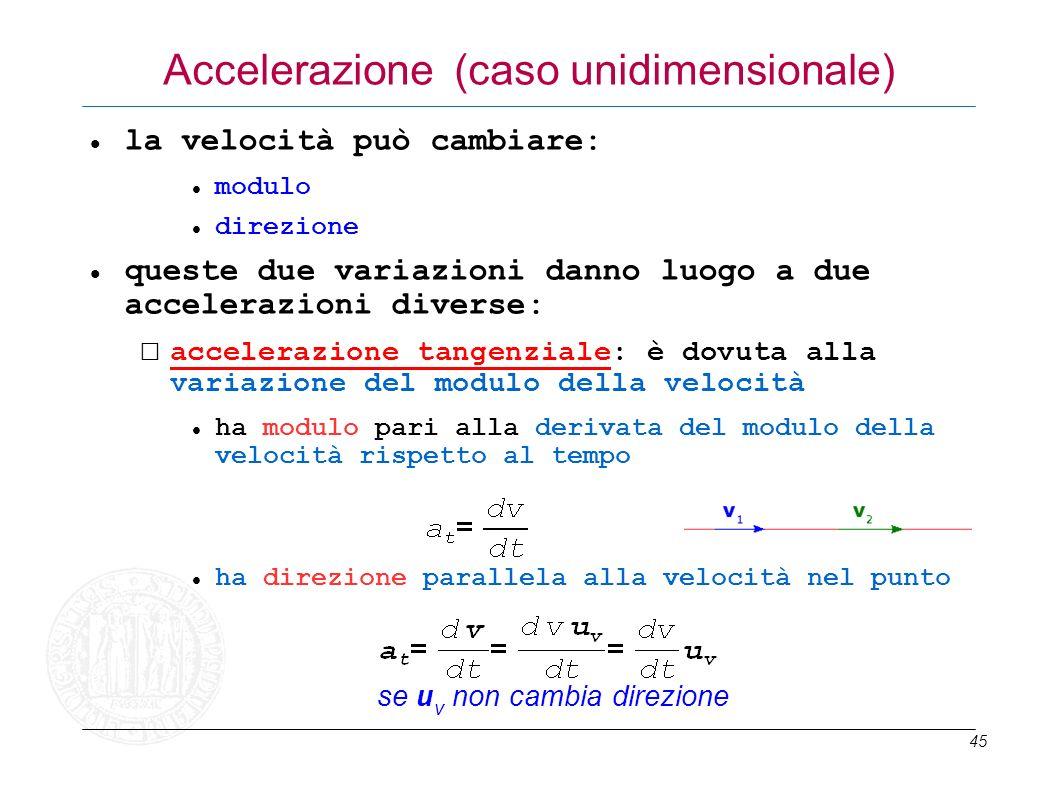45 Accelerazione (caso unidimensionale) la velocità può cambiare: modulo direzione queste due variazioni danno luogo a due accelerazioni diverse: acce