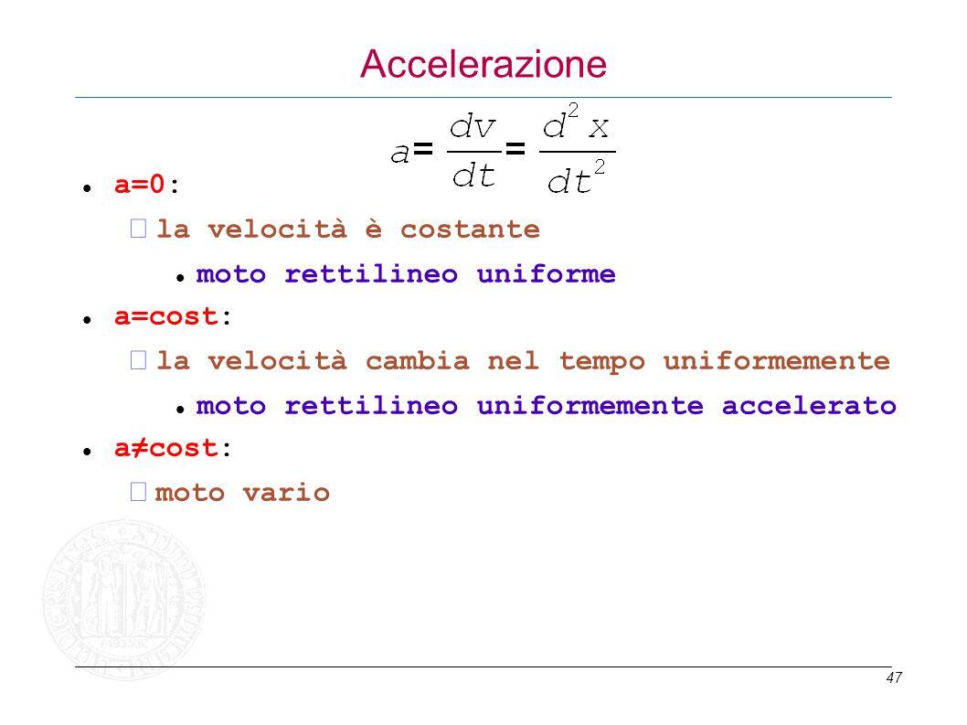 47 Accelerazione a=0: la velocità è costante moto rettilineo uniforme a=cost: la velocità cambia nel tempo uniformemente moto rettilineo uniformemente