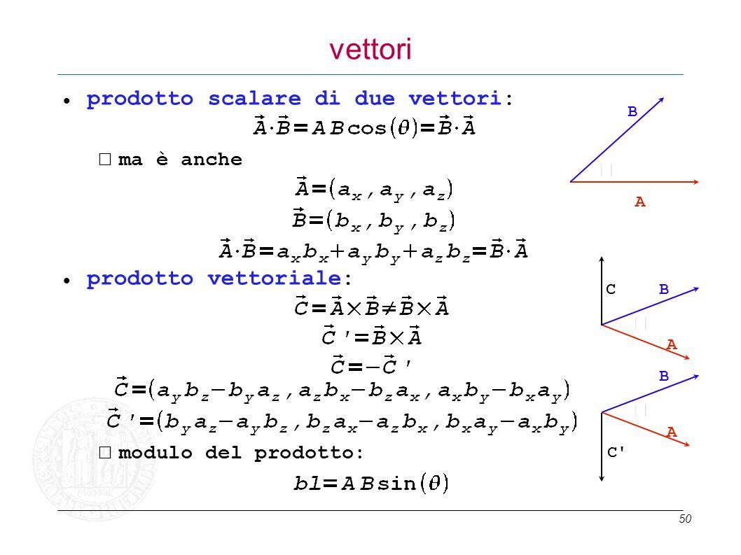 50 vettori prodotto scalare di due vettori: ma è anche prodotto vettoriale: modulo del prodotto: A B A BC A B C'C'