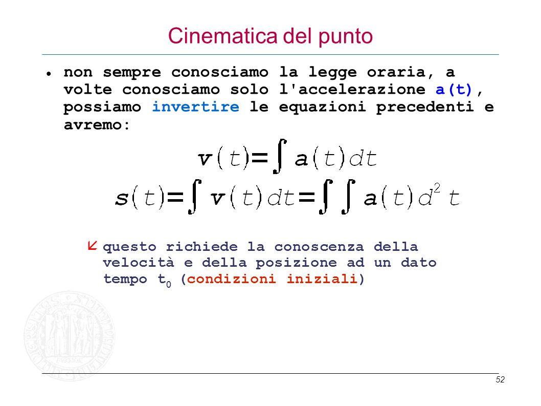 52 Cinematica del punto non sempre conosciamo la legge oraria, a volte conosciamo solo l'accelerazione a(t), possiamo invertire le equazioni precedent