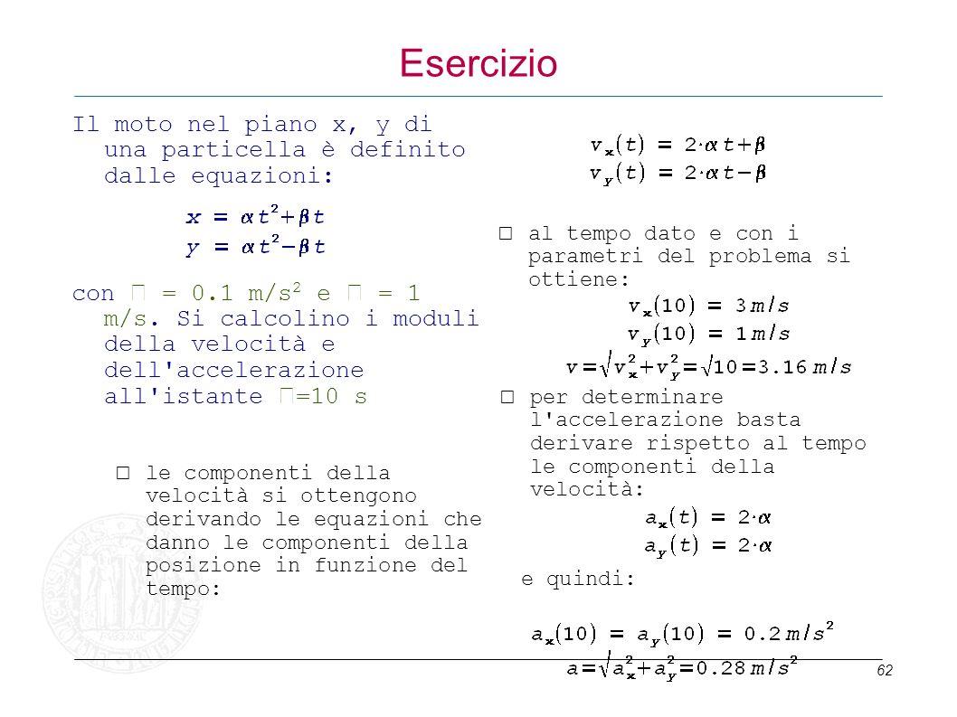 62 Esercizio Il moto nel piano x, y di una particella è definito dalle equazioni: con = 0.1 m/s 2 e = 1 m/s. Si calcolino i moduli della velocità e de