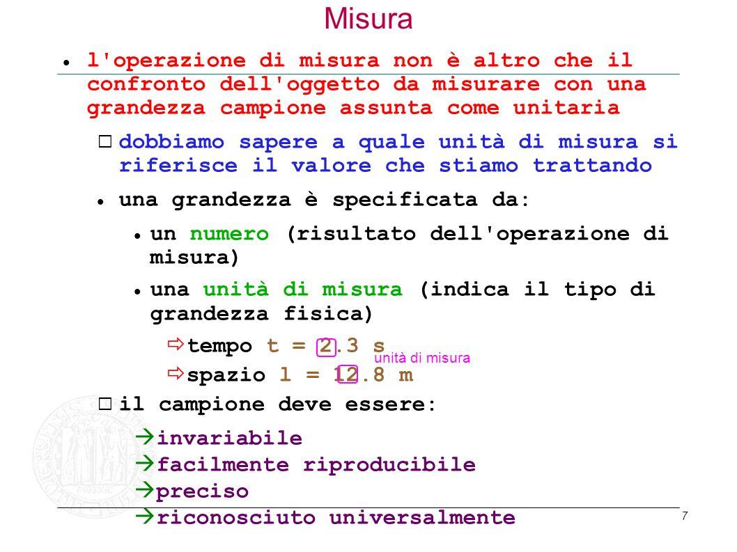 7 Misura l'operazione di misura non è altro che il confronto dell'oggetto da misurare con una grandezza campione assunta come unitaria dobbiamo sapere