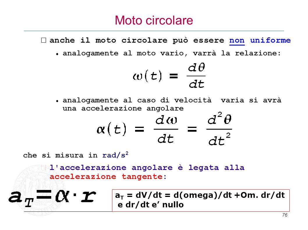76 Moto circolare anche il moto circolare può essere non uniforme analogamente al moto vario, varrà la relazione: analogamente al caso di velocità var