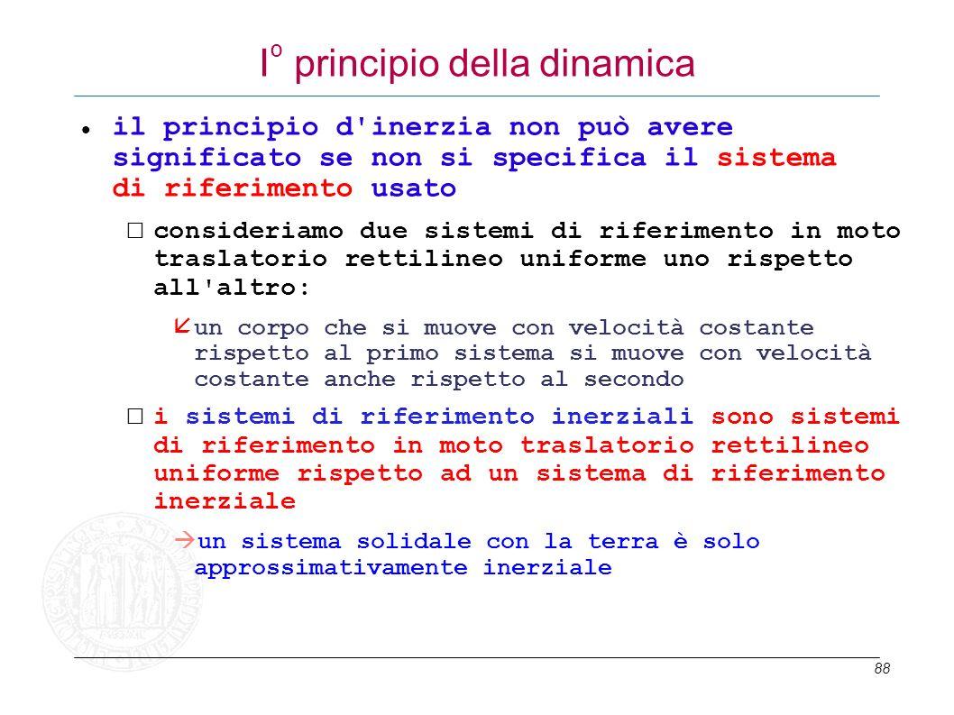 88 I º principio della dinamica il principio d'inerzia non può avere significato se non si specifica il sistema di riferimento usato consideriamo due