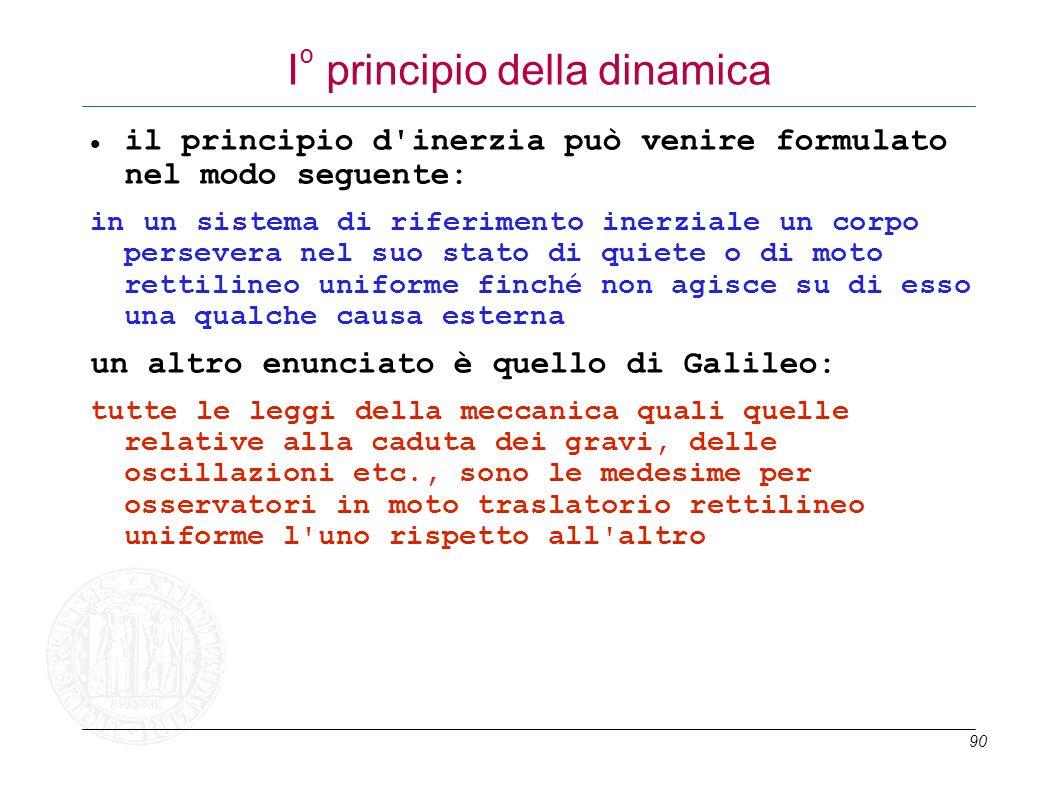90 I º principio della dinamica il principio d'inerzia può venire formulato nel modo seguente: in un sistema di riferimento inerziale un corpo perseve