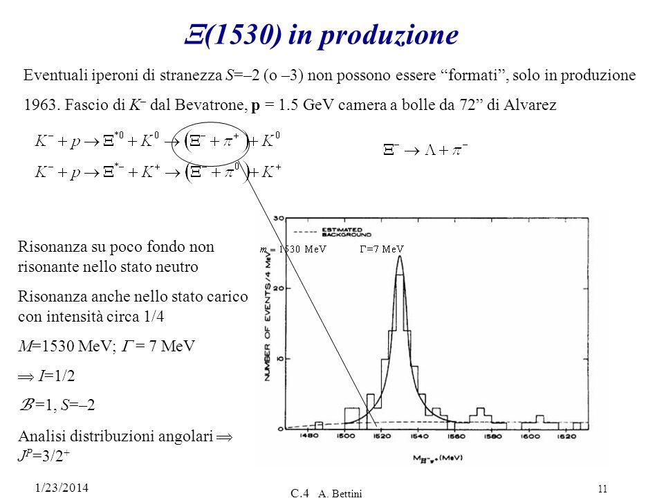 1/23/2014 C.4 A. Bettini 11 (1530) in produzione Eventuali iperoni di stranezza S=–2 (o –3) non possono essere formati, solo in produzione 1963. Fasci