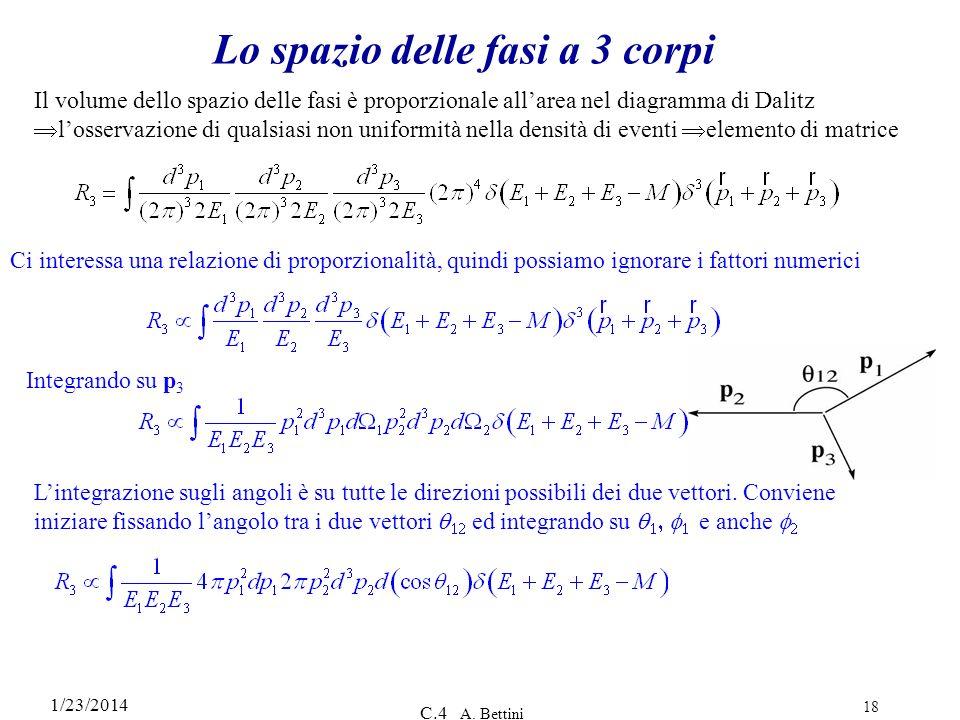 1/23/2014 C.4 A. Bettini 18 Lo spazio delle fasi a 3 corpi Ci interessa una relazione di proporzionalità, quindi possiamo ignorare i fattori numerici