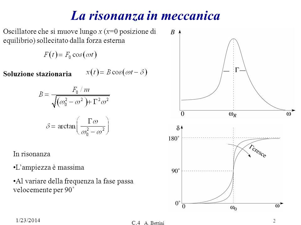 1/23/2014 C.4 A. Bettini 2 La risonanza in meccanica Oscillatore che si muove lungo x (x=0 posizione di equilibrio) sollecitato dalla forza esterna So