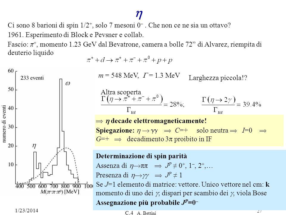 1/23/2014 C.4 A. Bettini 27 Ci sono 8 barioni di spin 1/2 +, solo 7 mesoni 0 –. Che non ce ne sia un ottavo? 1961. Esperimento di Block e Pevsner e co