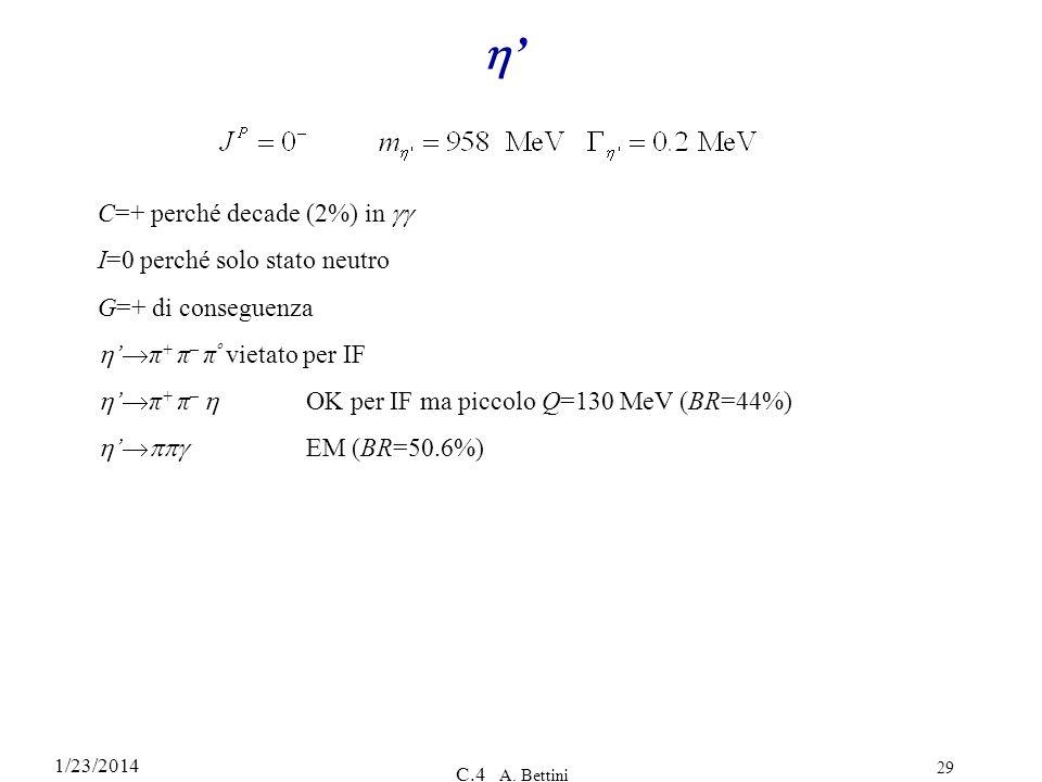 1/23/2014 C.4 A. Bettini 29 C=+ perché decade (2%) in I=0 perché solo stato neutro G=+ di conseguenza π + π – π º vietato per IF π + π – OK per IF ma