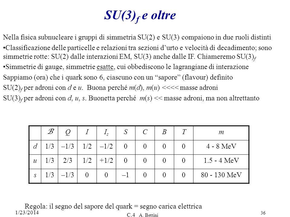 1/23/2014 C.4 A. Bettini 36 SU(3) f e oltre Nella fisica subnucleare i gruppi di simmetria SU(2) e SU(3) compaiono in due ruoli distinti Classificazio