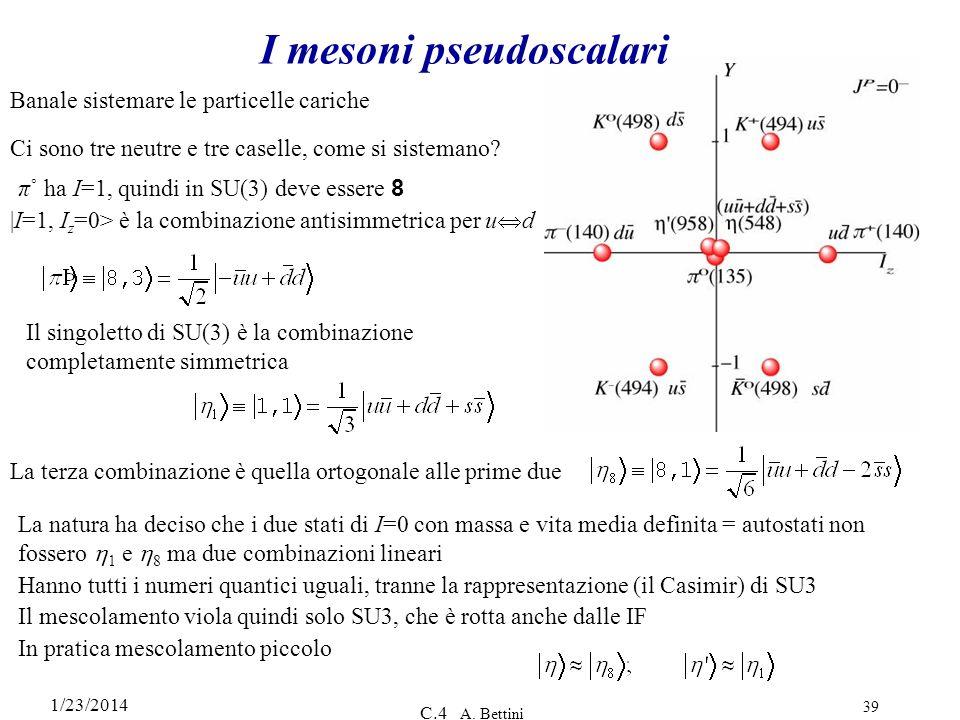 1/23/2014 C.4 A. Bettini 39 I mesoni pseudoscalari Banale sistemare le particelle cariche Ci sono tre neutre e tre caselle, come si sistemano? π˚ ha I