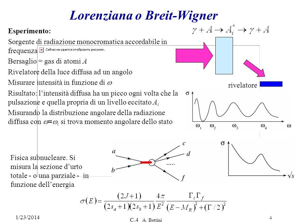 1/23/2014 C.4 A. Bettini 4 Lorenziana o Breit-Wigner Esperimento: Sorgente di radiazione monocromatica accordabile in frequenza Bersaglio = gas di ato