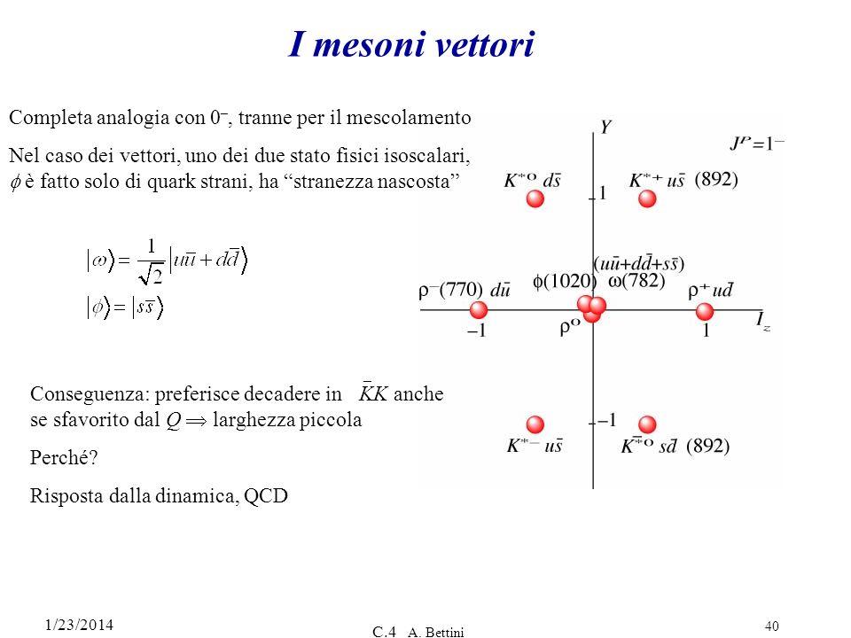 1/23/2014 C.4 A. Bettini 40 I mesoni vettori Completa analogia con 0 –, tranne per il mescolamento Nel caso dei vettori, uno dei due stato fisici isos