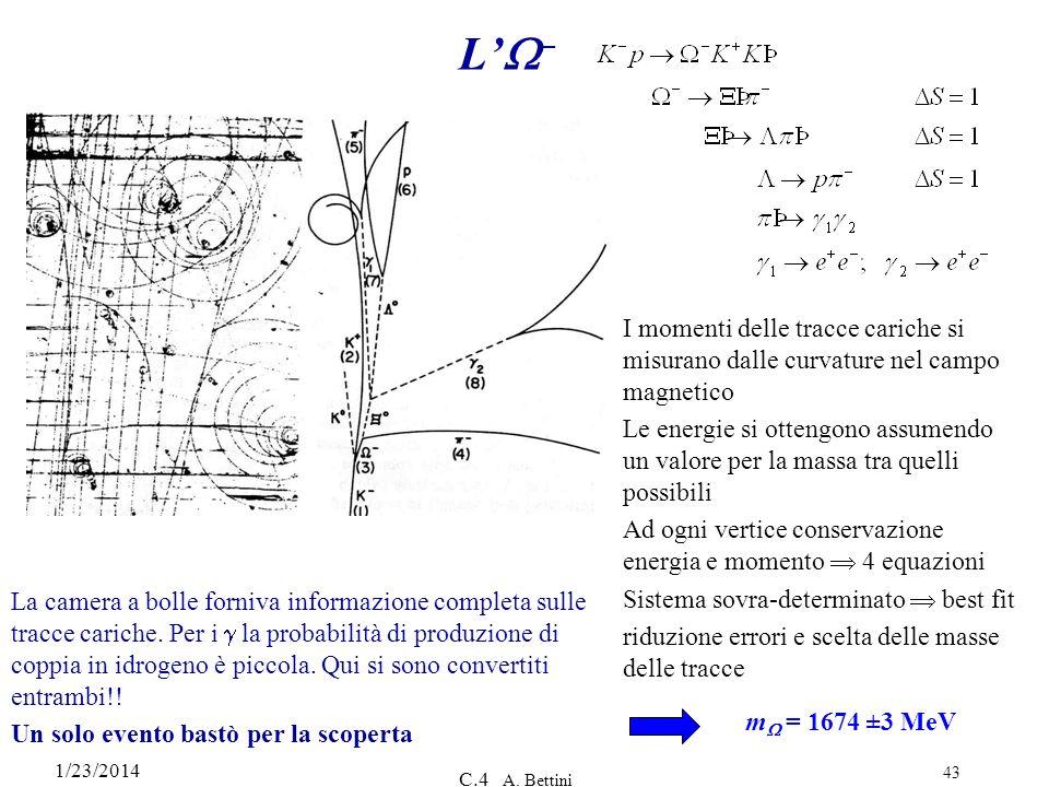 1/23/2014 C.4 A. Bettini 43 L – m = 1674 ±3 MeV La camera a bolle forniva informazione completa sulle tracce cariche. Per i la probabilità di produzio