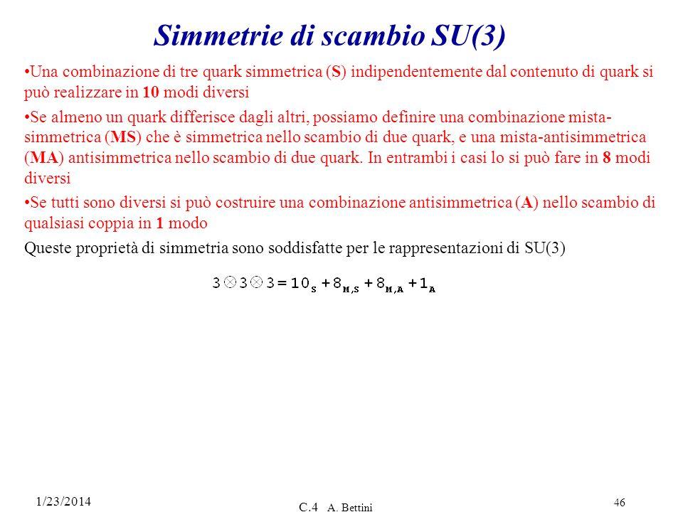 1/23/2014 C.4 A. Bettini 46 Simmetrie di scambio SU(3) Una combinazione di tre quark simmetrica (S) indipendentemente dal contenuto di quark si può re