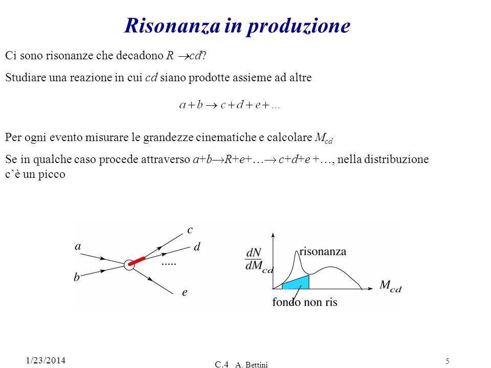 1/23/2014 C.4 A. Bettini 5 Risonanza in produzione Ci sono risonanze che decadono R cd? Studiare una reazione in cui cd siano prodotte assieme ad altr