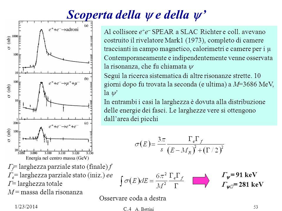 1/23/2014 C.4 A. Bettini 53 Scoperta della e della Al collisore e + e – SPEAR a SLAC Richter e coll. avevano costruito il rivelatore Mark1 (1973), com