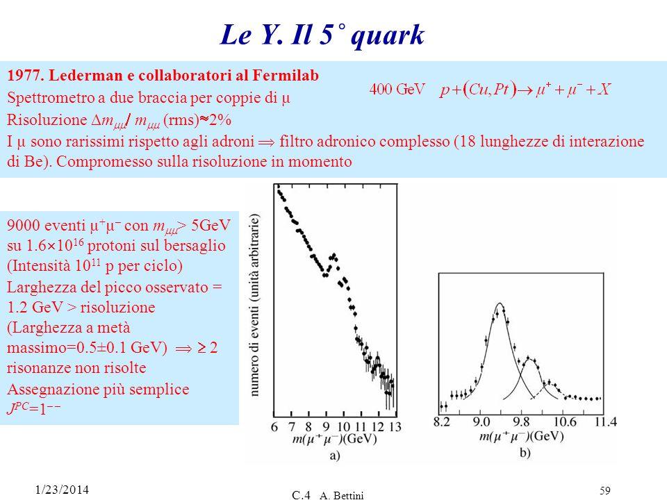 1/23/2014 C.4 A. Bettini 59 1977. Lederman e collaboratori al Fermilab Spettrometro a due braccia per coppie di µ Risoluzione m m (rms) 2% I µ sono ra