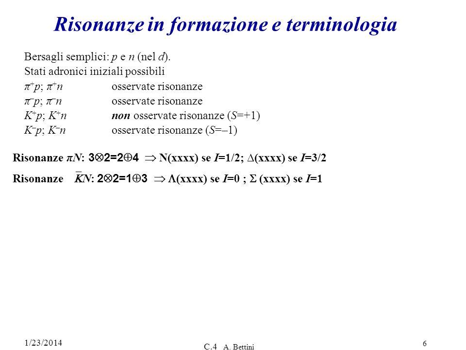 1/23/2014 C.4 A. Bettini 6 Risonanze in formazione e terminologia Bersagli semplici: p e n (nel d). Stati adronici iniziali possibili π + p; π + nosse