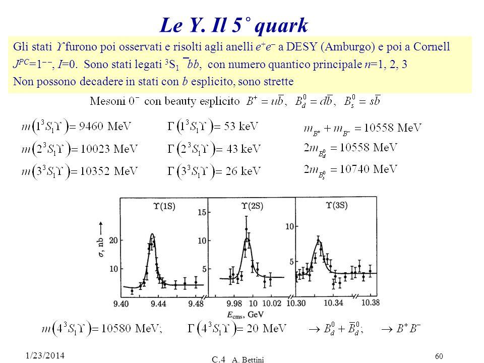 1/23/2014 C.4 A. Bettini 60 Le Y. Il 5˚ quark Gli stati furono poi osservati e risolti agli anelli e + e – a DESY (Amburgo) e poi a Cornell J PC =1 –