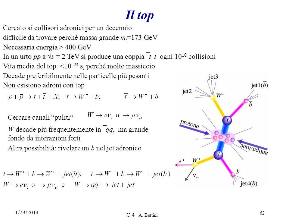 1/23/2014 C.4 A. Bettini 62 Il top Cercato ai collisori adronici per un decennio =173 GeV difficile da trovare perché massa grande m t =173 GeV Necess