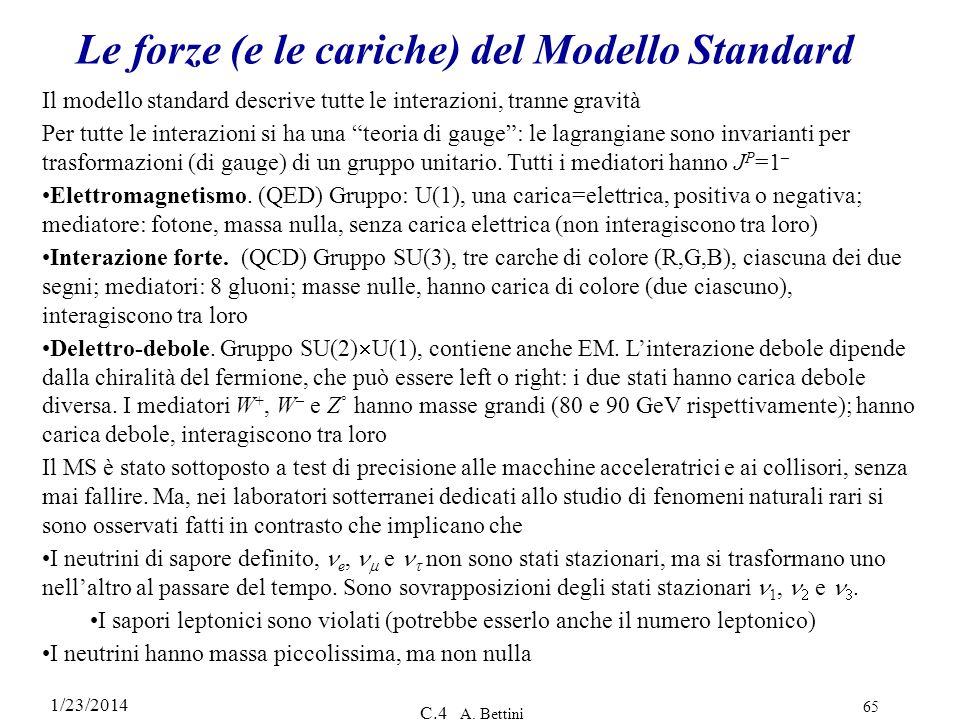 1/23/2014 C.4 A. Bettini 65 Le forze (e le cariche) del Modello Standard Il modello standard descrive tutte le interazioni, tranne gravità Per tutte l
