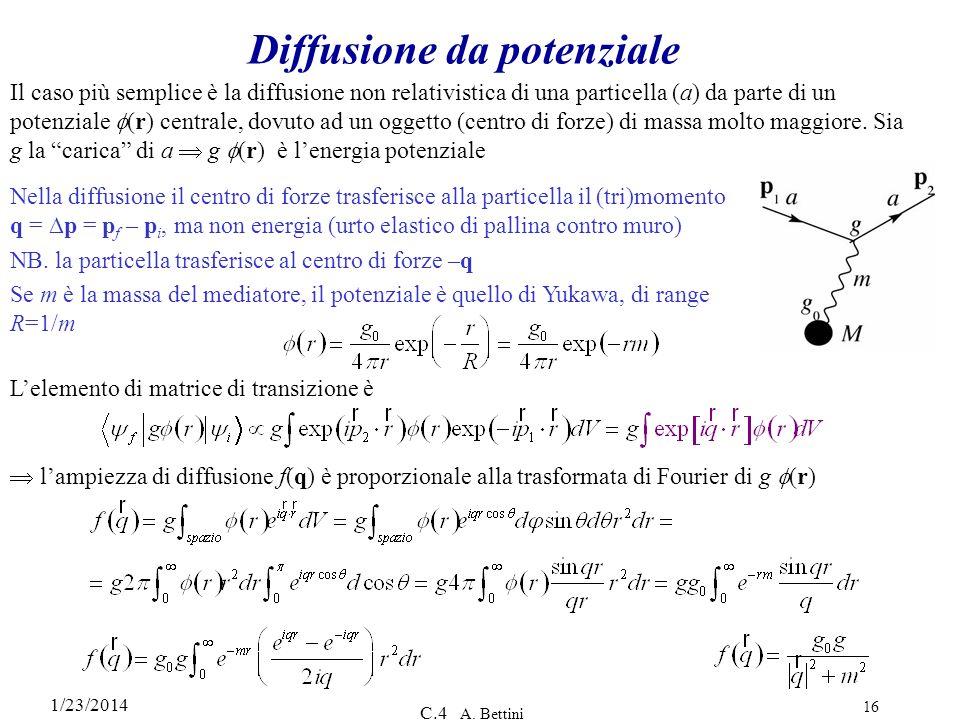 1/23/2014 C.4 A. Bettini 16 Diffusione da potenziale Il caso più semplice è la diffusione non relativistica di una particella (a) da parte di un poten