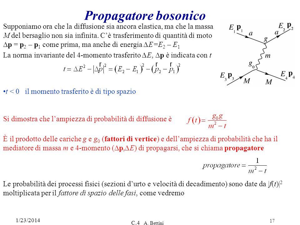 1/23/2014 C.4 A. Bettini 17 Propagatore bosonico Supponiamo ora che la diffusione sia ancora elastica, ma che la massa M del bersaglio non sia infinit