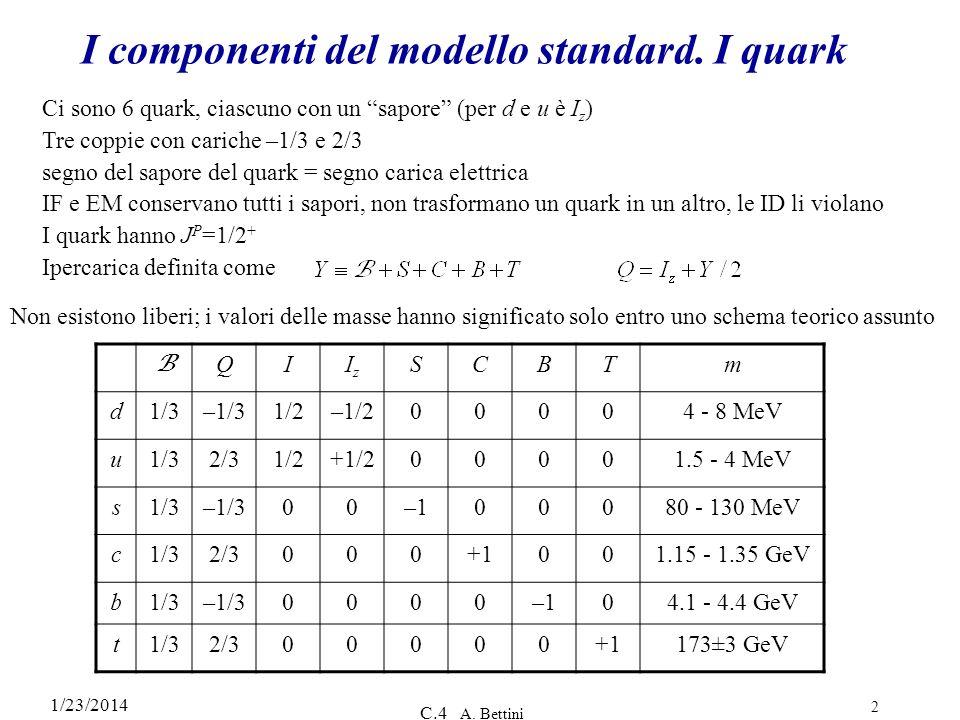 1/23/2014 C.4 A. Bettini 2 I componenti del modello standard. I quark B QIIzIz SCBTm d1/3–1/31/2–1/200004 - 8 MeV u1/32/31/2+1/200001.5 - 4 MeV s1/3–1