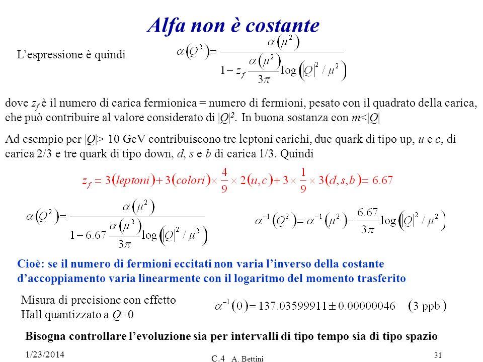 1/23/2014 C.4 A. Bettini 31 Alfa non è costante Lespressione è quindi dove z f è il numero di carica fermionica = numero di fermioni, pesato con il qu