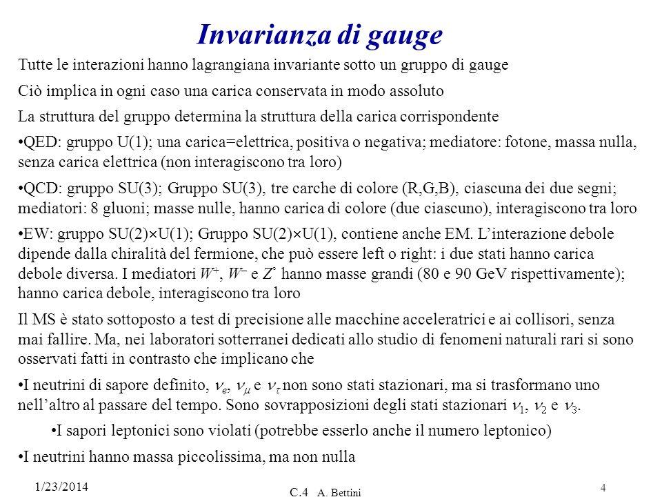1/23/2014 C.4 A. Bettini 4 Invarianza di gauge Tutte le interazioni hanno lagrangiana invariante sotto un gruppo di gauge Ciò implica in ogni caso una