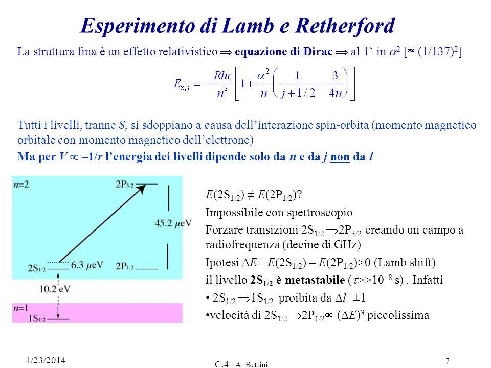 1/23/2014 C.4 A. Bettini 7 Esperimento di Lamb e Retherford La struttura fina è un effetto relativistico equazione di Dirac al 1˚ in 2 [ (1/137) 2 ] T