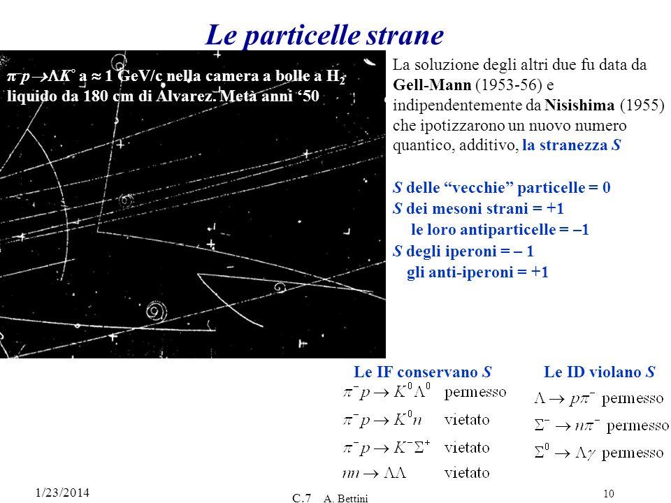 1/23/2014 C.7 A. Bettini 10 Le particelle strane π – p K˚ a 1 GeV/c nella camera a bolle a H 2 liquido da 180 cm di Alvarez. Metà anni 50 La soluzione