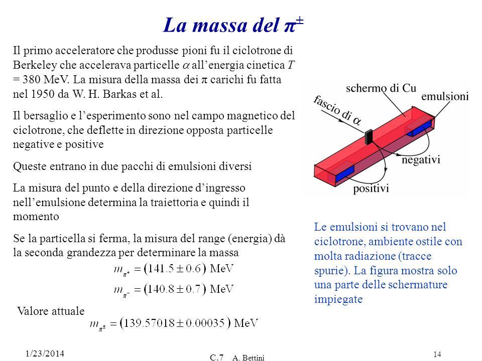 1/23/2014 C.7 A. Bettini 14 La massa del π ± Il primo acceleratore che produsse pioni fu il ciclotrone di Berkeley che accelerava particelle allenergi