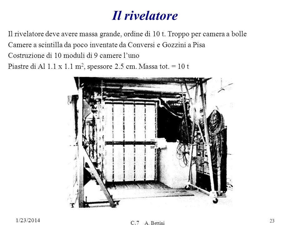 1/23/2014 C.7 A. Bettini 23 Il rivelatore Il rivelatore deve avere massa grande, ordine di 10 t. Troppo per camera a bolle Camere a scintilla da poco