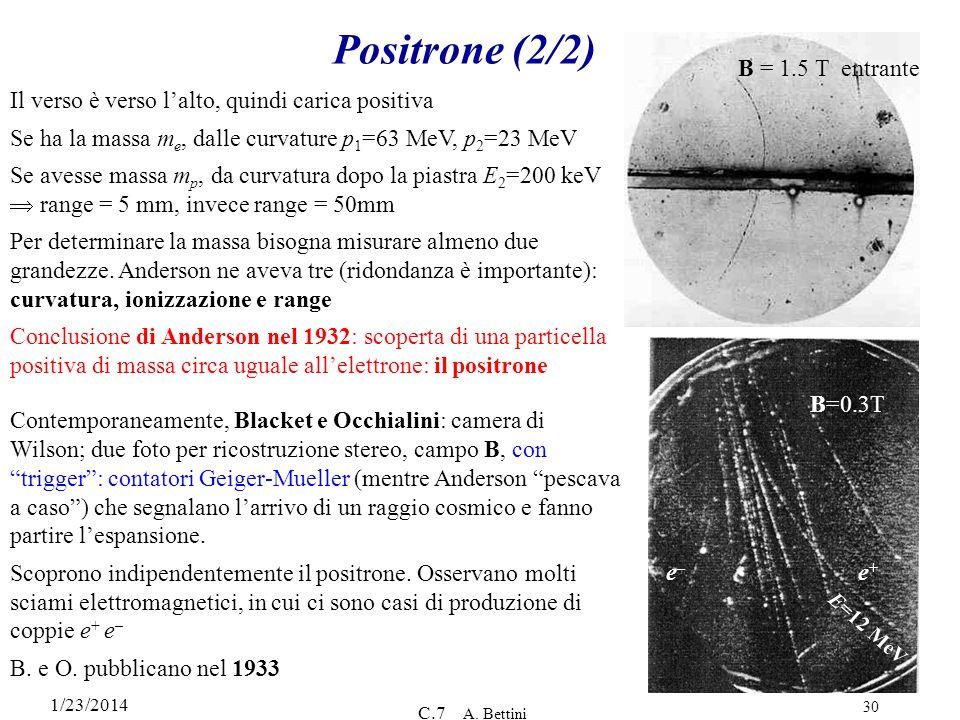 1/23/2014 C.7 A. Bettini 30 Positrone (2/2) Il verso è verso lalto, quindi carica positiva Se ha la massa m e, dalle curvature p 1 =63 MeV, p 2 =23 Me
