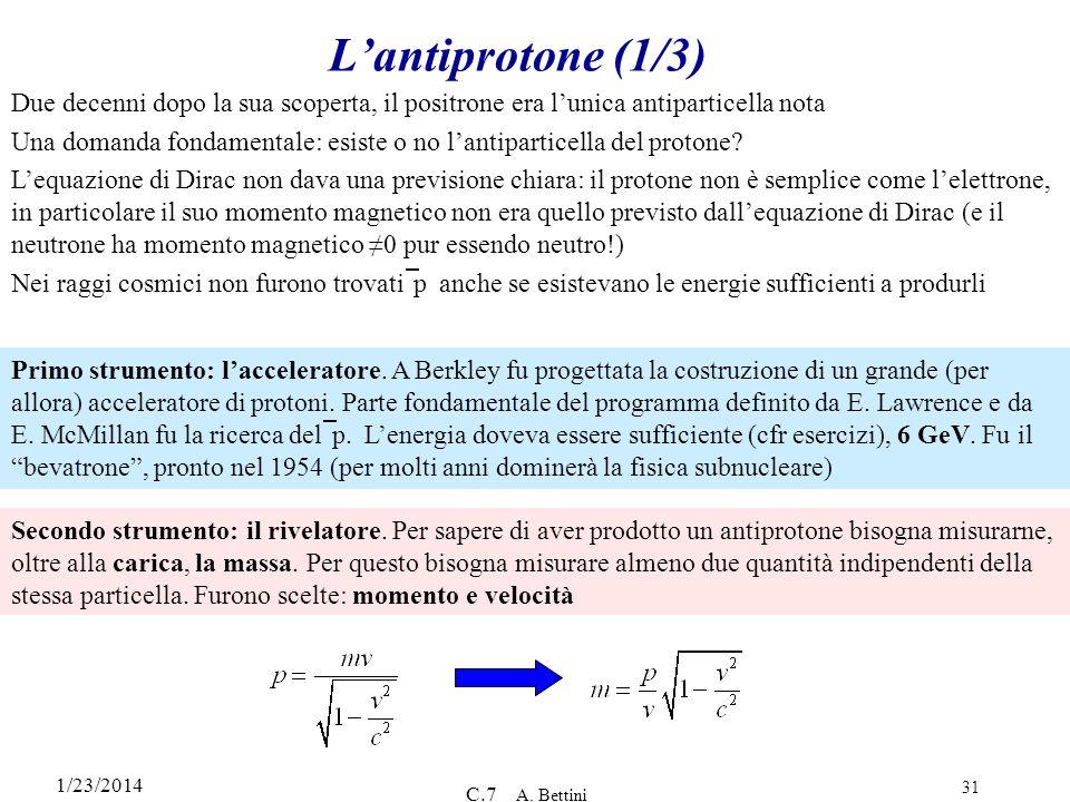 1/23/2014 C.7 A. Bettini 31 Lantiprotone (1/3) Due decenni dopo la sua scoperta, il positrone era lunica antiparticella nota Una domanda fondamentale: