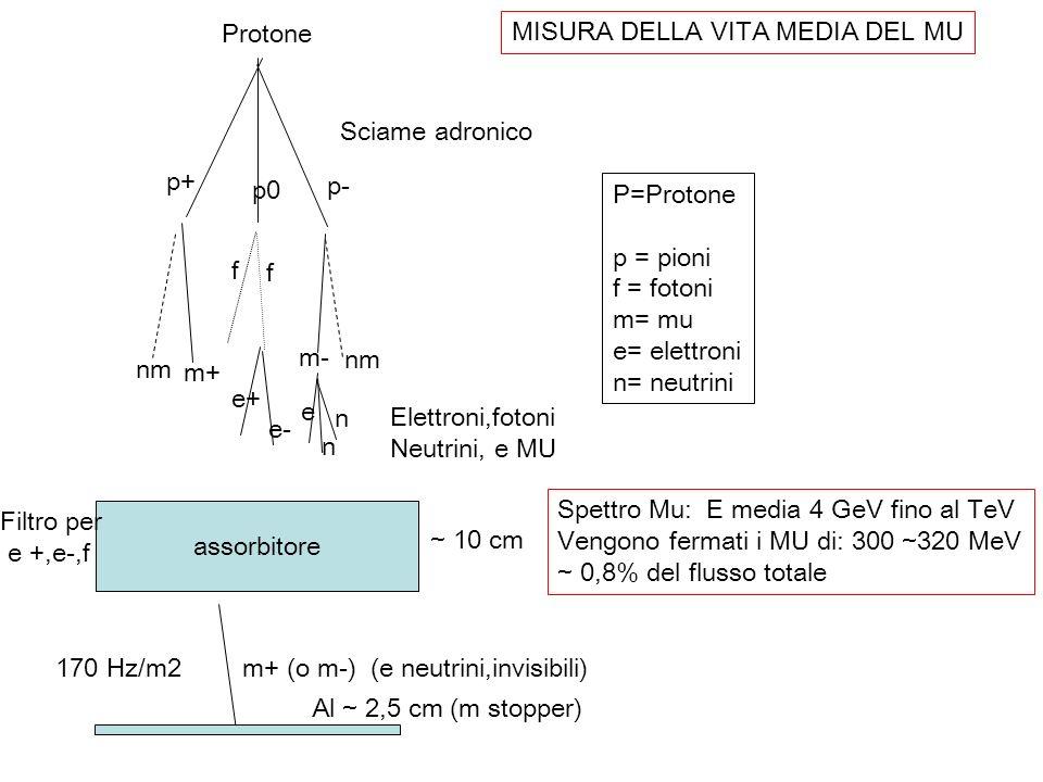 Piombo ~ 10 cm Alluminio ~ 2.5 cm Scintillatore ~ 1 cmFotomoltiplicatori A1 A2 A3 A4 B1 B2 B3 B4 C1 C2 (A1x B1)x(A2xB2) x [(A3xB3)+ C1+C2]= particella da sopra arrestata nel 2 nd Alluminio Presenza entro 20 musec di [(A2xB2)+ (A3xB3)] x [ (A2xB2)x(A3xB3) + C1+ C2] = Elettrone da decadimento a riposo di un MU nel 2 nd o 3 rd scintillatore.