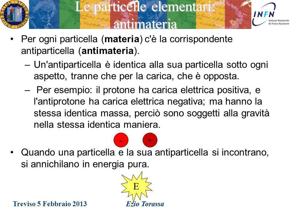 Treviso 5 Febbraio 2013 Ezio Torassa Le particelle elementari: dove sono i quarks.
