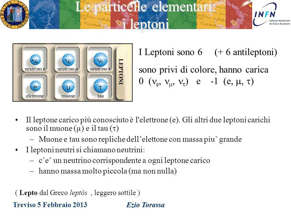 Ezio Torassa Le particelle elementari: gli adroni I Quark sono 6 (+ 6 antiquark) possono assumere 3 stati quantici chiamati colore, hanno carica +2/3 (u, c, t) e -1/3 (d, s, b) Adroni: Mesoni Barioni (spin intero) (spin semidispari) q q q q q sono privi di colore Treviso 5 Febbraio 2013