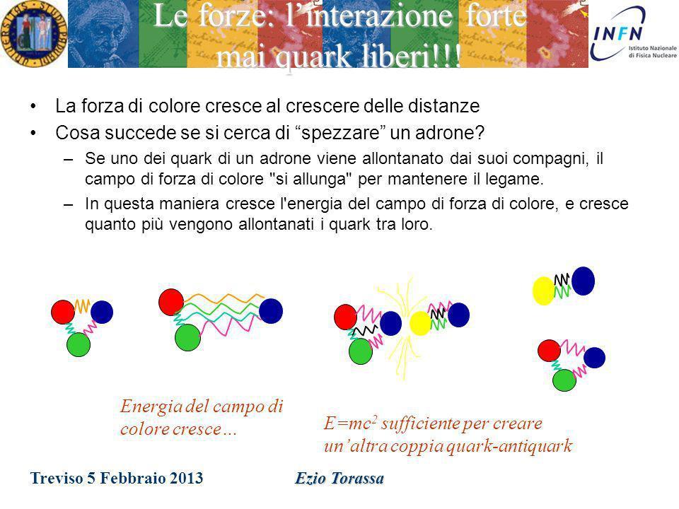Ezio Torassa Le forze: linterazione forte I quark hanno una carica di un nuovo tipo: è stata chiamata carica di colore. Lintensita della carica di col