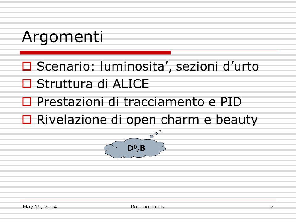 May 19, 2004Rosario Turrisi2 Argomenti Scenario: luminosita, sezioni durto Struttura di ALICE Prestazioni di tracciamento e PID Rivelazione di open charm e beauty D 0,B