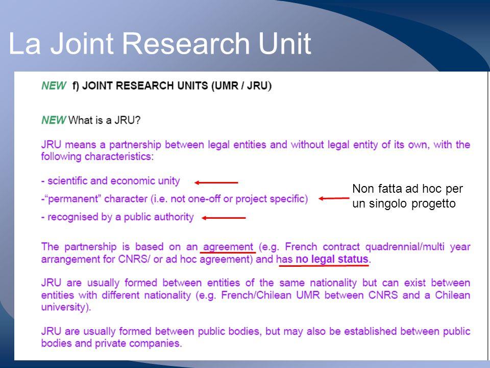 G. Maggi 23/1/2006 La Joint Research Unit Non fatta ad hoc per un singolo progetto