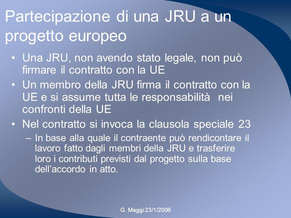 G. Maggi 23/1/2006 Partecipazione di una JRU a un progetto europeo Una JRU, non avendo stato legale, non può firmare il contratto con la UE Un membro