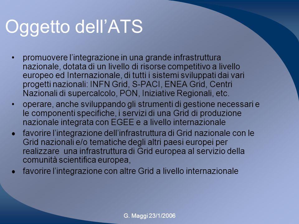 G. Maggi 23/1/2006 Oggetto dellATS promuovere lintegrazione in una grande infrastruttura nazionale, dotata di un livello di risorse competitivo a live