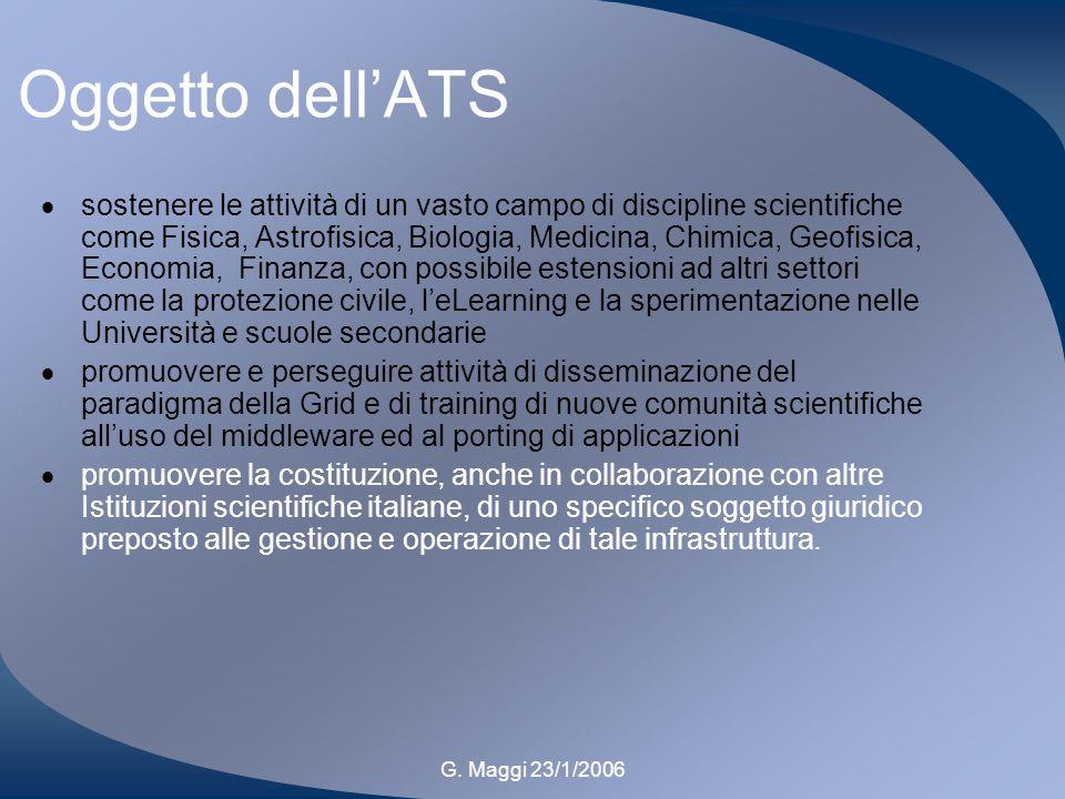 G. Maggi 23/1/2006 Oggetto dellATS sostenere le attività di un vasto campo di discipline scientifiche come Fisica, Astrofisica, Biologia, Medicina, Ch