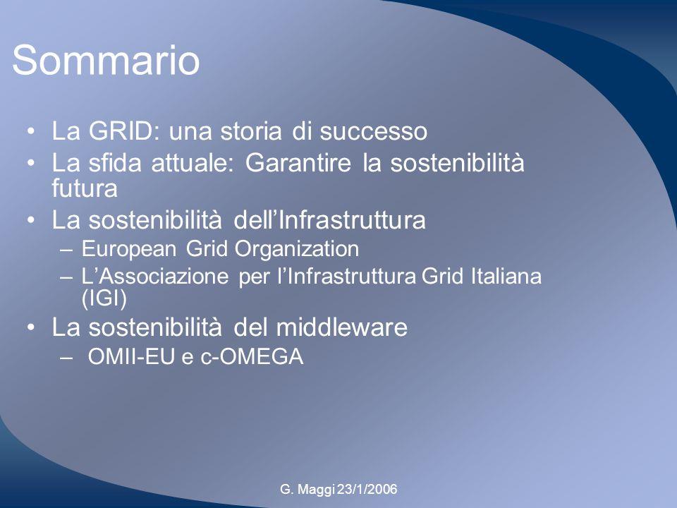 G. Maggi 23/1/2006 Sommario La GRID: una storia di successo La sfida attuale: Garantire la sostenibilità futura La sostenibilità dellInfrastruttura –E